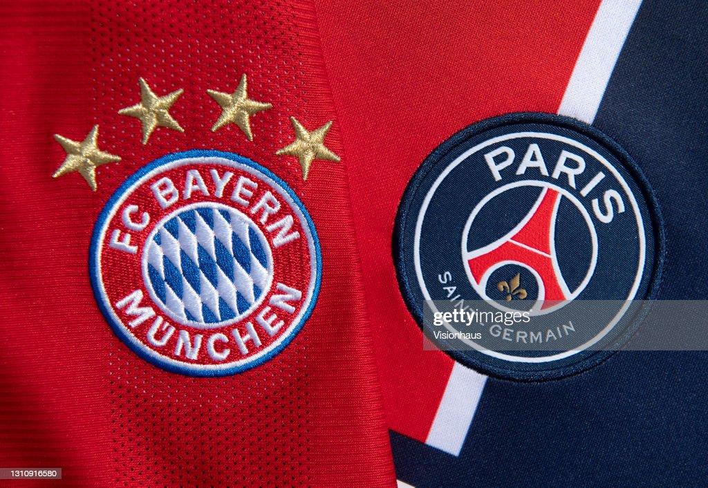 The FC Bayern Munich and Paris Saint-Germain Club Badges : News Photo