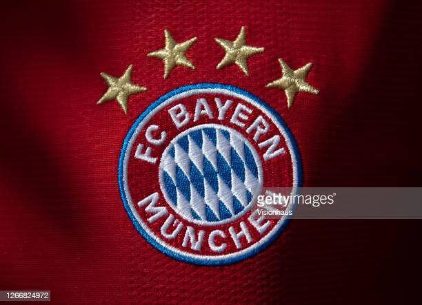 The FC Bayern Munich club crest on their home shirt displaying the four stars commemorating their Bundesliga successes on August 17, 2020 in...