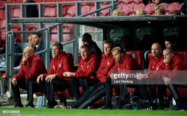 The FC Copenhagen bench with Stale Solbakken head coach Johan Lange assistant coach Anton Scheutjens goalkeeper coach Anders Storskov physical coach...