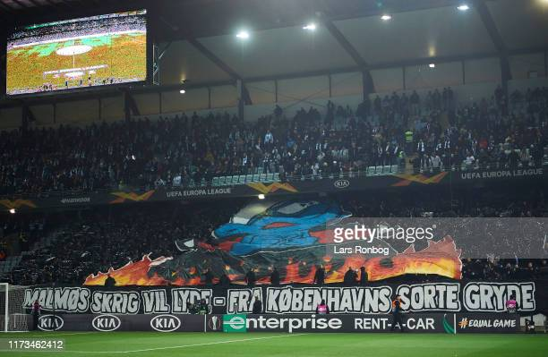 The FC Copenhagen fan tifo prior to the UEFA Europa League match between Malmo FF and FC Copenhagen at Stadion Malmo on October 3, 2019 in Malmo,...