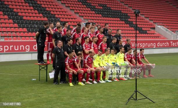 The FC Ingolstadt 04 team with equipment manager Michael Klattenbacher Maurice Multhaup Sonny Kittel Markus Suttner Mathew Leckie Dario Lezcano...