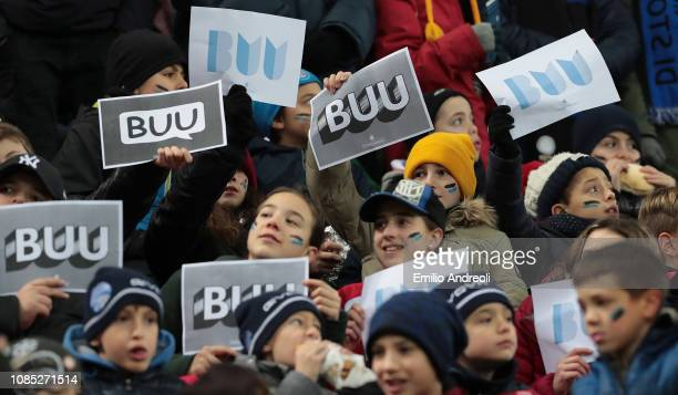 The FC Internazionale fans show a BUU sign from the campaign against racism prior to the Serie A match between FC Internazionale and US Sassuolo at...