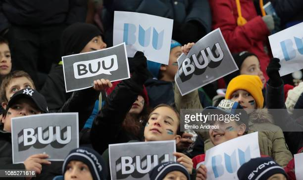 The FC Internazionale fans show BUU signs from the campaign against racism prior to the Serie A match between FC Internazionale and US Sassuolo at...