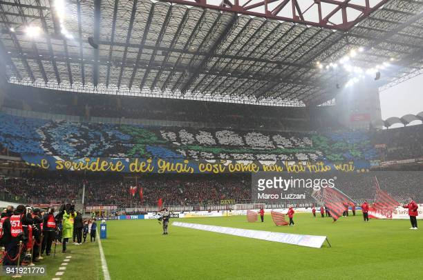 The FC Internazionale fans show their support before the erie A match between AC Milan and FC Internazionale at Stadio Giuseppe Meazza on April 4...