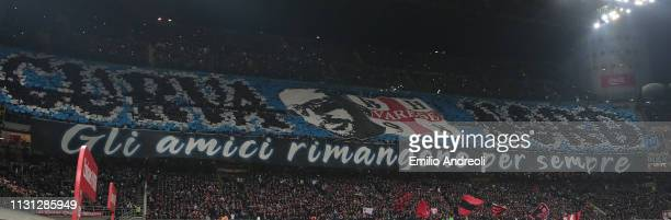 The FC Internazionale fans show their support prior to the Serie A match between AC Milan and FC Internazionale at Stadio Giuseppe Meazza on March 17...