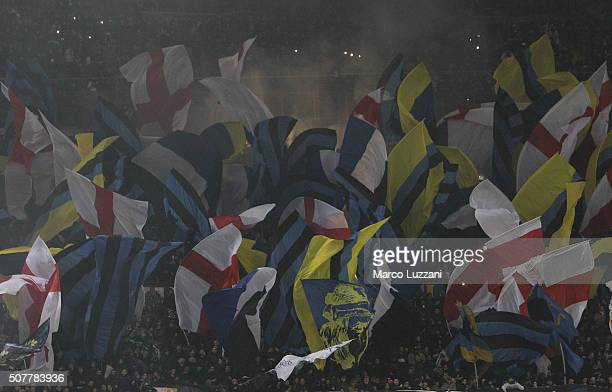 The FC Internazionale Milano fans show their support before the Serie A match between AC Milan and FC Internazionale Milano at Stadio Giuseppe Meazza...