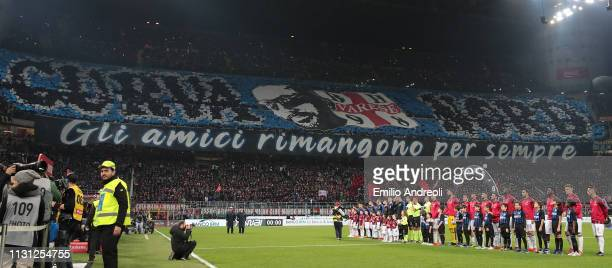 The FC Internazionale Milano fans show their support prior to the Serie A match between AC Milan and FC Internazionale at Stadio Giuseppe Meazza on...