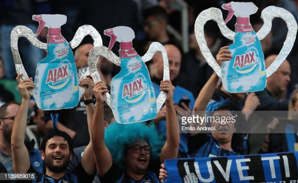 The FC Internazionale Milano fans show their support prior to the Serie A match between FC Internazionale and Juventus at Stadio Giuseppe Meazza on...