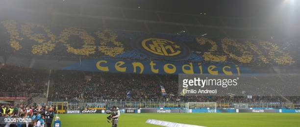 The FC Internazionale Milano fans show their support prior to the serie A match between FC Internazionale and SSC Napoli at Stadio Giuseppe Meazza on...