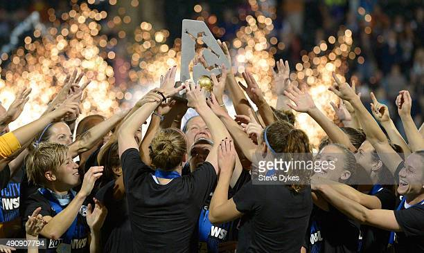 The FC Kansas City team celebrate after winning the NWSL Championship over the Seattle Reign FC by a score of 10 at Providence Park on October 1 2015...