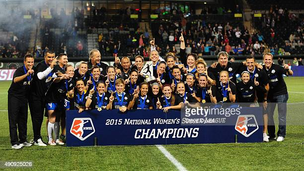 The FC Kansas City team pose for a photo after winning the NWSL Championship over the Seattle Reign FC by a score of 10 at Providence Park on October...