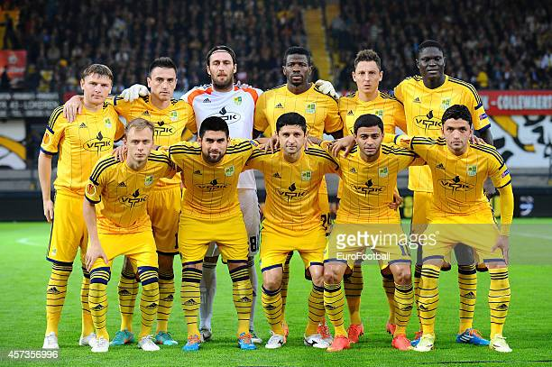 The FC Metalist Kharkiv players pose for a team photo before UEFA Europa League group L match between KSC Lokeren OVL and FC Metalist Kharkiv at the...