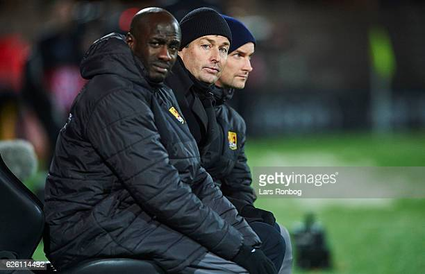 The FC Nordsjalland bench Otto Addo assistant coach of FC Nordsjalland Kasper Hjulmand head coach of FC Nordsjalland and Soren Krogh assistant coach...