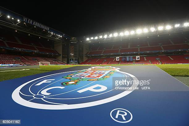 The FC Porto emblem is on display ready for the match during the UEFA Champions League match between FC Copenhagen and FC Porto at Parken Stadium on...