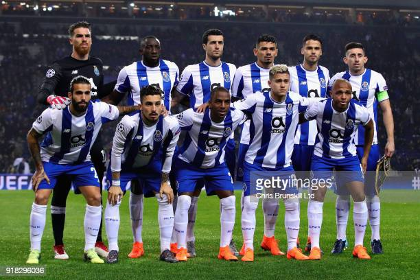 The FC Porto team line up before the UEFA Champions League Round of 16 First Leg match between FC Porto and Liverpool at Estadio do Dragao on...