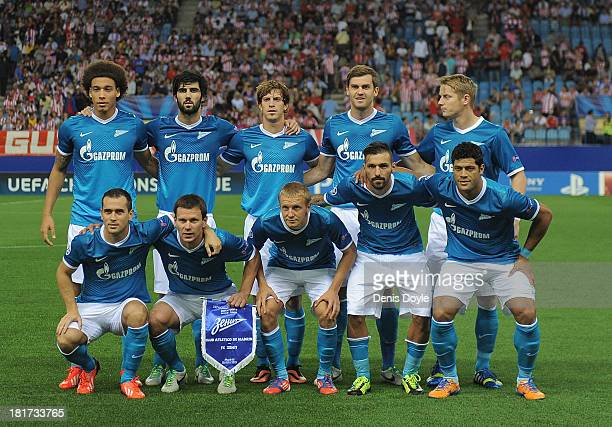 The FC Zenit team lines-up for the start of the UEFA Champions League Group G match between Club Atletico de Madrid and FC Zenit at Vicente Calderon...