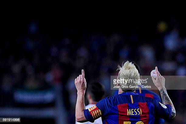 The FCBarcelona forward Lionel Messi celebrating his goal during the FCBarcelona vs Sevilla FC Spanish Super Cup match at Nou Camp on August 17 2016...