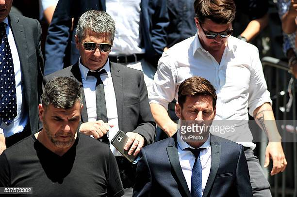 The FCBarcelona Lionel Messi and his father Jorge Horacio Messi attend to court over tax fraud charges June 2 2016 in Barcelona Spain