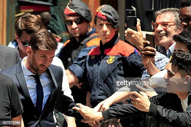 The FCBarcelona Lionel Messi attend to court over tax fraud charges June 2 2016 in Barcelona Spain
