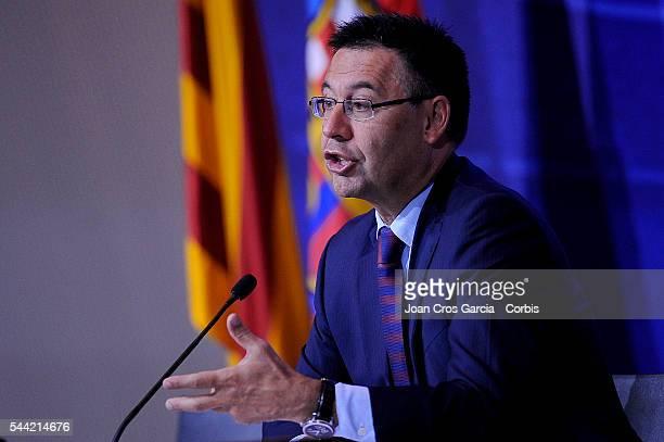 The FCBarcelona president Josep Maria Bartomeu attends the press during FCBarcelona balance season June 30 2016 in Barcelona Spain