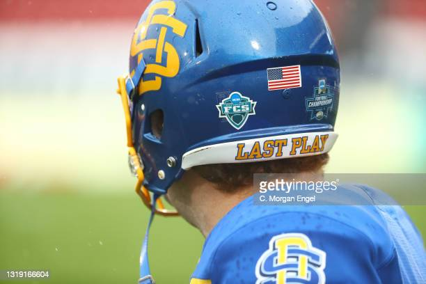 The FCS logo sits on the back of a South Dakota State Jackrabbits helmet before the game between the South Dakota State Jackrabbits and the Sam...