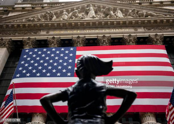 The Fearless Girl bronze sculpture faces the New York Stock Exchange building on September 3, 2020 in New York City. The New York Stock Exchange lost...