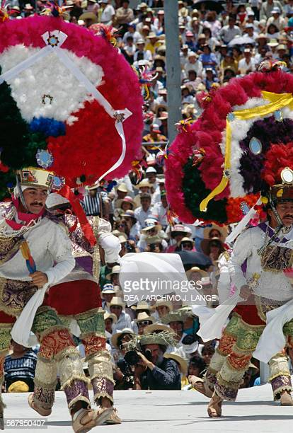 The Feather dance during the celebrations at the Guelaguetza festival Oaxaca Mexico