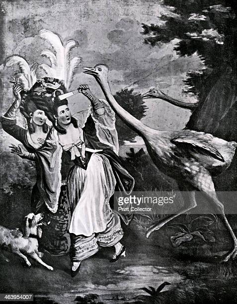 'The Featherd Fair in a Fright' 18th century Women with elaborate feathered hairdos flee from angry ostriches who want their feathers back...