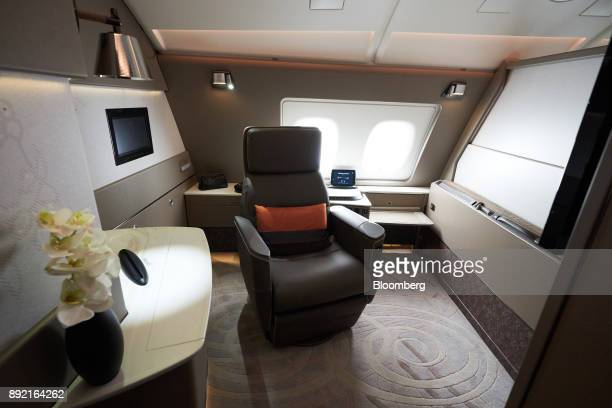 The features of a suite of a Singapore Airlines Ltd Airbus SE A380 aircraft with refitted cabins are seen during a media tour at Changi Airport in...