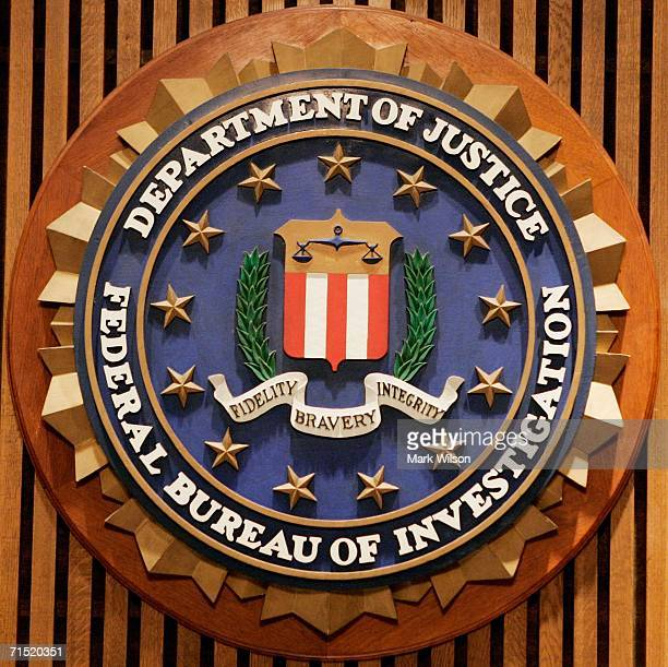 The Federal Bureau of Investigation seal is shown at the FBI Headquarters July 26 2006 in Washington DC FBI Director Robert Mueller announced...