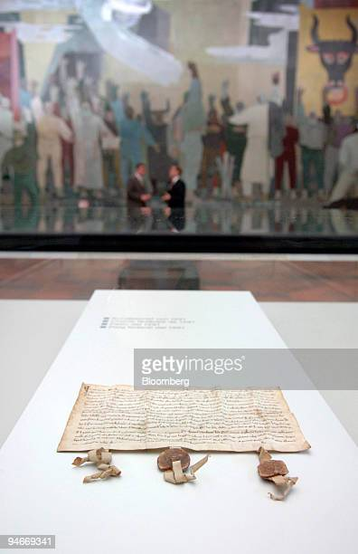 The Federal Charter of Switzerland at the Founding Letter Museum in Schwyz Switzerland is seen on Friday April 7 2005 Swiss politicians from the...