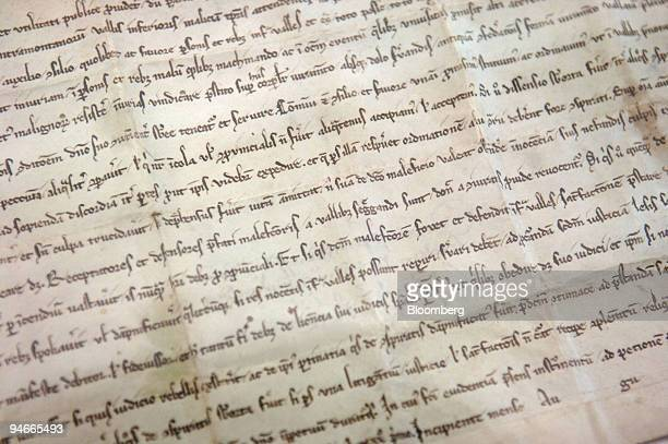 The Federal Charter of Switzerland is seen at the Founding Letter Museum in Schwyz Switzerland on Friday April 7 2005 Swiss politicians from the...