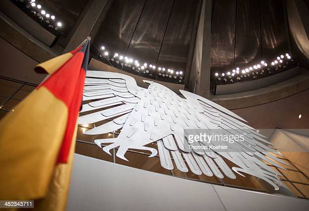 The Federal Eagle and German Flag in the plenum of the German Federal Parliament on March 13 in Berlin Germany