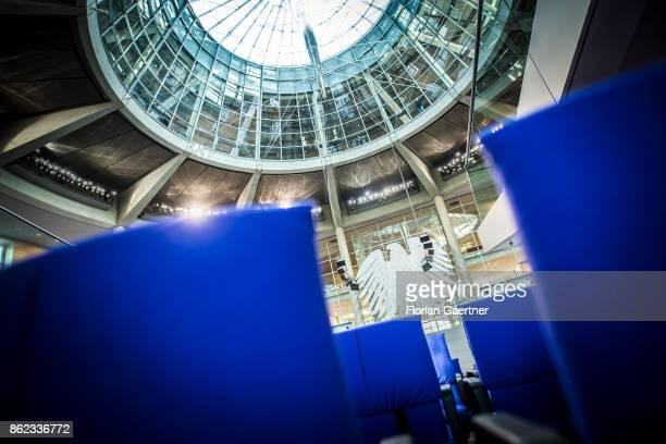 The Federal Eagle and the dome are pictured from the plenary hall at the Bundestag on October 17 2017 in Berlin Germany Following German federal...