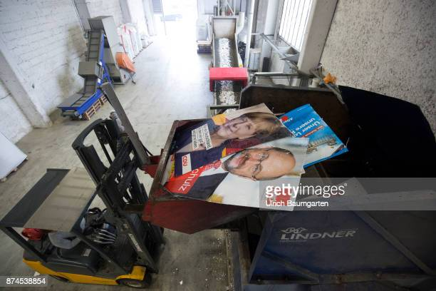 The federal elections are history Collected nationwide are at a Receycling company in Neuss the election posters of most of the parties involved in...