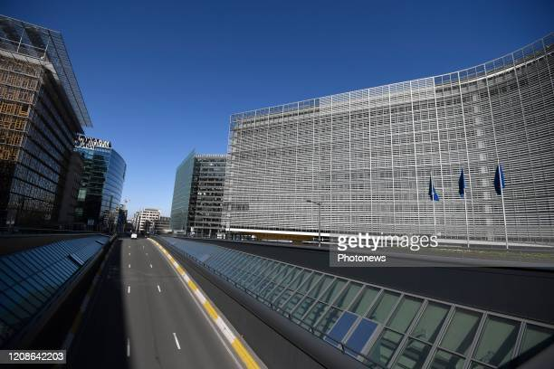 The federal government placed a lockdown to stop the spreading of Covid19 illustration picture of European building Berlaymont in Brussels
