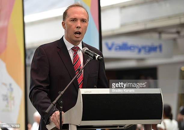 The Federal Minister for Sport Peter Dutton speaks during the media opportunity as the one year to go countdown begins until the 2015 ICC Cricket...