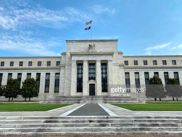 The Federal Reserve Board building is viewed on July 1, 2020 in Washington,DC. - The world's largest economy is showing signs it is rebounding faster...