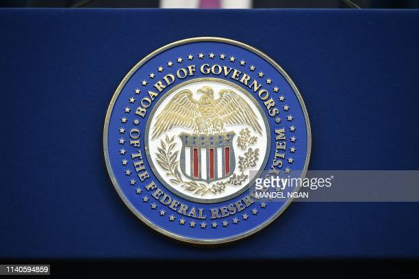 The Federal Reserve Board logo in Washington, DC on May1, 2019.
