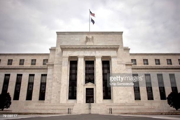 The Federal Reserve building is seen January 22, 2008 in Washington, DC. The Fed cut its benchmark interest rate by three-quarters of a percentage...