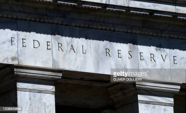 The Federal Reserve building is seen on April 2, 2020 in Washington, DC.