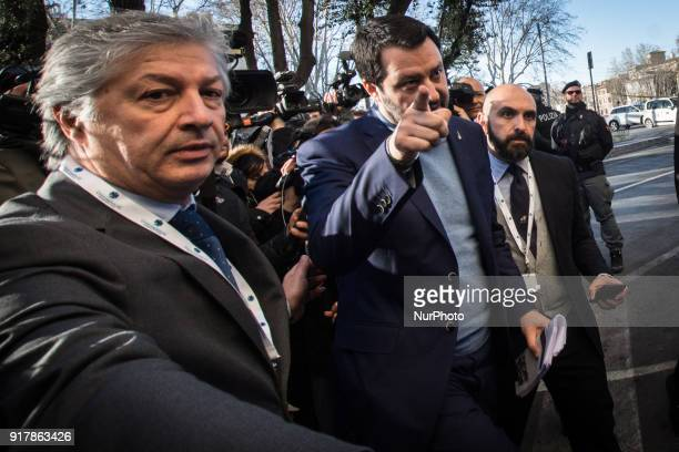 the federal secretary of the Lega Nord Matteo Salvini during a meeting organised by the association with a view to the general elections on 04 March...