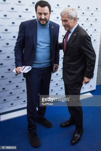 the federal secretary of the Lega Nord Matteo Salvini with the head of the Italian trade association Confcommercio Carlo Sangalli during a meeting...
