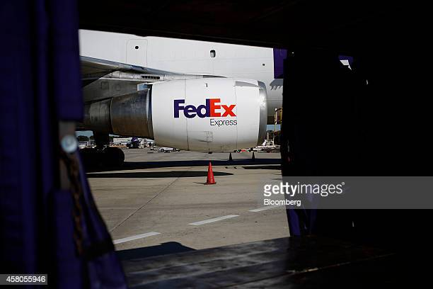 The FedEx Corp logo is seen on the engine of a cargo jet on the tarmac during the morning package sort at the FedEx Express Hub in Memphis Tennessee...