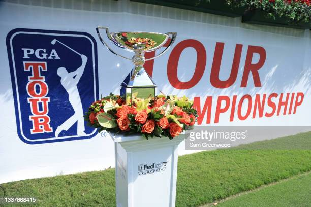The FedEx Cup is displayed on the first tee during the first round of the TOUR Championship at East Lake Golf Club on September 02, 2021 in Atlanta,...