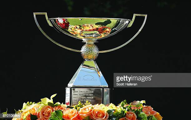 The FedExCup is seen on the first tee during the third round of the TOUR Championship at East Lake Golf Club on September 24, 2016 in Atlanta,...