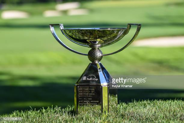 The FedExCup trophy is displayed on the first hole tee box during the first round of THE NORTHERN TRUST at Ridgewood Country Club on August 23 2018...