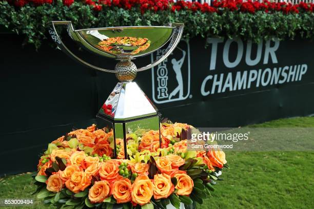 The FedExCup trophy is displayed prior to the final round of the TOUR Championship at East Lake Golf Club on September 24 2017 in Atlanta Georgia