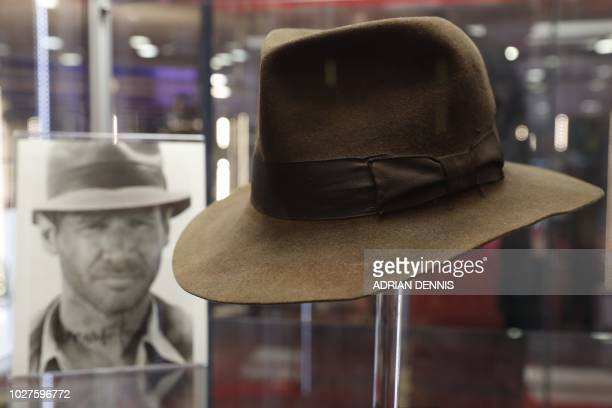 The fedora worn by Harrison Ford's character Indiana Jones in the 'Indiana Jones and the Raiders of the Lost Ark' film is on show at the Imax in...