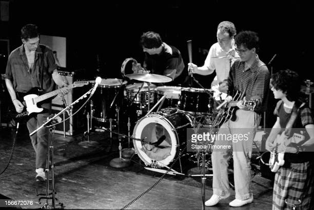 The Feelies perform on stage at Cabaret Metro in Chicago Illinois USA on 21st October 1988 LR Glenn Mercer Dave Weckerman Stan Demeski Bill Million...